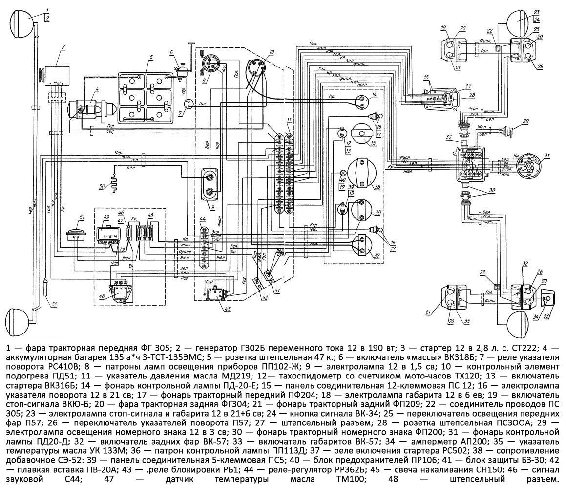 Схема электропроводки трактора т 25 цветная